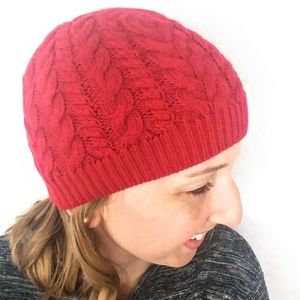 Talbots Cable knit Beanie / Hat Red